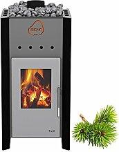 Premium Gartensauna Ardor von Isidor mit Holz- Saunaofen Troll mit 7,8 kW Heizleistung; 4,1m² großem Saunaraum inkl. Sauna-Innenausstattung auf insgesamt 17,9 m² Gebäudefläche