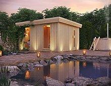 Premium Gartensauna Calor von Isidor mit Holz- Saunaofen Troll mit 7,8 kW Heizleistung; 4,1m² großem Saunaraum inkl. Sauna-Innenausstattung auf insgesamt 14,5 m² Gebäudefläche