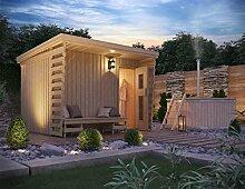 Premium Gartensauna Fides von Isidor mit Elektro- Saunaofen Kaja mit 9 kW Heizleistung und externer Steuerung; 4,1m² großem Saunaraum inkl. Sauna-Innenausstattung auf insgesamt 6 m² Gebäudefläche
