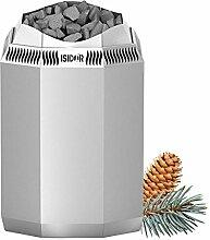 Premium Gartensauna Foras von Isidor mit Bio Elektro- Saunaofen Kaisa mit 8 kW Heizleistung; Outdoorsauna mit knapp 4 m² großem Saunaraum inkl. Sauna-Innenausstattung und überdachter Veranda