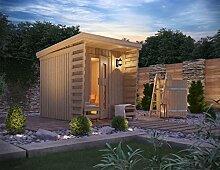 Premium Gartensauna Fortuna von Isidor mit Bio Elektro- Saunaofen Kaisa mit 8 kW Heizleistung; Outdoorsauna mit 4,1m² großem Saunaraum und großer Veranda für ein puristisches Saunavergnügen