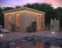 Premium Gartensauna Vapor von Isidor; Outdoorsaua mit 4,1m² großem Saunaraum inkl. Sauna-Innenausstattung auf insgesamt 12,6m² Gebäudefläche
