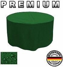 Premium Gartentisch Abdeckung Gartenmöbel Schutzhülle RUND ø 125cm x 75cm Tannengrün