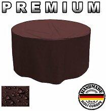 Premium Gartentisch Abdeckung Gartenmöbel Schutzhülle RUND ø 125cm x 75cm Braun