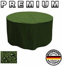 Premium Gartentisch Abdeckung Gartenmöbel Schutzhülle RUND ø 125cm x 75cm Olivgrün