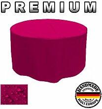 PREMIUM Gartentisch Abdeckung Gartenmöbel Schutzhülle RUND ø 155cm x H 70cm Pink / Rosa