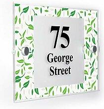 Premium Home Plaques Hausnummernschild mit grünem