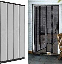 Premium Insektenschutz Lamellenvorhang Fiberglas für Türen 100 x 220 cm aus in anthrazit Türvorhang eingenähte Gewichte + selbstklebende Klemmleiste