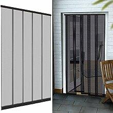 Premium Insektenschutz Lamellenvorhang Polyester für Türen 125 x 240 cm aus in anthrazit Türvorhang eingenähte Gewichte + selbstklebende Klemmleiste