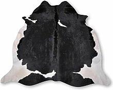 Premium Kuhfell-Teppich aus Südamerika - 100% Naturprodukt - schwarz weiß L232 x B218cm