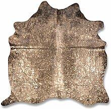 Premium Kuhfell-Teppich - L175 x B190 cm - schwarz gold gesprenkelt - einmaliges Naturprodukt aus Südamerika