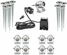 Premium LED Außenstrahler mit Erdspieß 9er Set 9