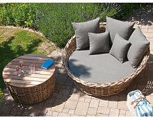 Premium Loungebett mit Beistelltisch aus