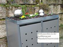 Premium Metall Mülltonnenbox Hellgraumetallic
