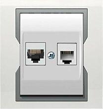 PREMIUM Qualität Schuko Steckdose Ausschalter Taster Lichtschalter QUATTRO (RJ45 + TEL 1159-00)