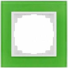 PREMIUM Qualität Schuko Steckdose Ausschalter Taster Lichtschalter SENTIA (1 Fachrahmen Grün 1471-70)