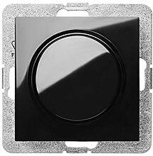 PREMIUM Qualität Schuko Steckdose Ausschalter Taster Lichtschalter SENTI Schwarz Einsatz + Abdeckung (Drehndimmbar 400W 1417-58)