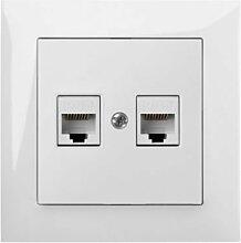 PREMIUM Qualität Schuko Steckdose Ausschalter Taster Lichtschalter SENTIA (2x RJ45 1449-10)