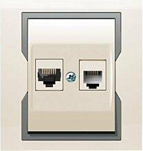 PREMIUM Qualität Schuko Steckdose Ausschalter Taster Lichtschalter QUATTRO BEIGE (RJ45 + TEL 1159-01)