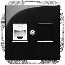 PREMIUM Qualität Schuko Steckdose Ausschalter Taster Lichtschalter SENTI Schwarz Einsatz + Abdeckung (2x RJ45 1449-58)