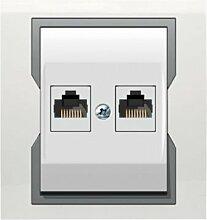 PREMIUM Qualität Schuko Steckdose Ausschalter Taster Lichtschalter QUATTRO (2 x RJ45 1149-00)