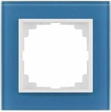 PREMIUM Qualität Schuko Steckdose Ausschalter Taster Lichtschalter SENTIA (1 Fachrahmen Glas See Blau 1471-64)
