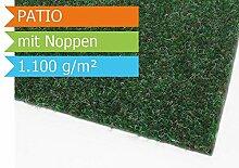 Premium Rasenteppich Kunstrasen Patio mit Noppen - Farbe Grün | Vliesrasen mit Drainage | Gesamthöhe ca. 7,5mm | Gewicht 1100g/m² | Pflegeleichte Strapazierfähig | Kunstrasenteppich - 1,33m x 11,00m