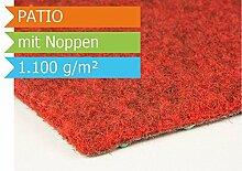 Premium Rasenteppich Kunstrasen Patio mit Noppen - Farbe Rot | Vliesrasen mit Drainage | Gesamthöhe ca. 7,5mm | Gewicht 1100g/m² | Pflegeleichte Strapazierfähig | Kunstrasenteppich - 1,33m x 10,00m