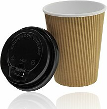 Premium Ripple Cups 0,4 l, braun + stabile Deckel