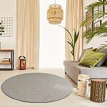Premium Schlingen Teppich Matterhorn rund - Farbe wählbar / schadstoffgeprüft robust und pflegeleicht / u.a. für Wohnzimmer Schlafzimmer Flure Büros und auch für Fußbodenheizung geeignet, Größe:240 cm rund, Farbe:Beige/Grau