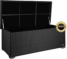 """PREMIUM """"Sienna"""" 650 L Kissenbox aus Polyrattan (es regnet nicht rein), L 155 cm x B 73 cm x H 60 cm ideal als Sitzbank nutzbar aufgrund des verstärkten Deckel mit 2 x Gasdruckstoßdämpfer; Farbe Schwarz"""