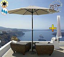 PREMIUM Sonnenschirm mit Hülle beige / naturweiss / MEGA-XXL Gartenschirm, Marktschirm, 300 cm / Q3 m EDEL ohne Volant, 8-teilig / 8-eckig massiv robust, Strandschirm,Sonnendach /Sonnenschutz Dach, XXL-Klappschirm, Gartenschirm extrem wetterfest, klappbar, tragbar, seewasserfest, hochwertig robust stabil, Sonnenschutz, stabiler Schirm Klappschirm, weiß-beige / naturweiss, Strandschirme, Sonnenschirme, Sonnenschirm-Tische, Regenschirm Picknickschirme