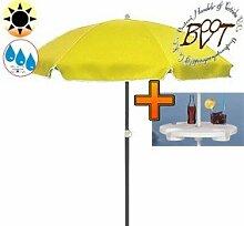PREMIUM-Sonnenschirm UV50+ mit Getränketisch / XXL Gartenschirm, Marktschirm, 180 cm / Q 1,80 m EDEL mit Volant 8-eckig, Sonnendach Schirm, 8tlg. Strandschirm, gelb mit weiss, Strandschirm rund,Sonnendach /Sonnenschutz Dach, XXL-Klappschirm, Gartenschirm extrem wetterfest, klappbar, tragbar, seewasserfest, hochwertig robust stabil, Sonnenschutz, stabiler Schirm Klappschirm, Strandschirme, Sonnenschirme, Sonnenschirm-Tische
