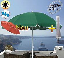 PREMIUM Sonnenschirm UV50+sonnendicht mit Hülle dunkelgrün / XXL Gartenschirm, Marktschirm, 180 cm / Durchmesser 1,80 m EDEL mit Volant, 8-teilig / 8-eckig massiv robust, Strandschirm,Sonnendach /Sonnenschutz Dach, XXL-Klappschirm, Gartenschirm extrem wetterfest, klappbar, tragbar, seewasserfest, hochwertig robust stabil, Sonnenschutz, stabiler Schirm Klappschirm, moosgrün, Strandschirme, Sonnenschirme, Sonnenschirm-Tische
