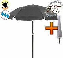 PREMIUM-Sonnenschirm UV50+sonnendicht mit Hülle / XXL Gartenschirm, Marktschirm, 180 cm / Q 1,80 m EDEL mit Volant 8-eckig, Sonnendach Schirm, 8tlg. Strandschirm, schwarz / grau marine mit weiss, Strandschirm rund,Sonnendach /Sonnenschutz Dach, XXL-Klappschirm, Gartenschirm extrem wetterfest, klappbar, tragbar, seewasserfest, hochwertig robust stabil, Sonnenschutz, stabiler Schirm Klappschirm, Strandschirme, Sonnenschirme, Sonnenschirm-Tische