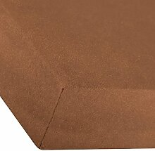 Premium Spannbettlaken für Wasserbetten und Boxspringbetten | 92% Mako-Baumwolle, 8% Elastan, ca. 250g/m² | 180 x 200 bis 200 x 220 cm | aqua-textil 0010225 schoko-braun