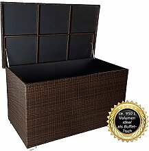 """PREMIUM """"Venezia"""" 950 L XXL Kissenbox (es regnet nicht rein) L 146 cm x B 83 cm x H 80 cm ideal als Buffet Tisch nutzbar mit 2 x Gasdruckstoßdämpfer und eingebauter Tischplatte Farbe: Java Braun"""