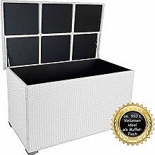 """PREMIUM """"Venezia"""" 950 L XXL Kissenbox (es regnet nicht rein) L 146 cm x B 83 cm x H 80 cm ideal als Buffet Tisch nutzbar mit 2 x Gasdruckstoßdämpfer und eingebauter Tischplatte Farbe: Weiss"""