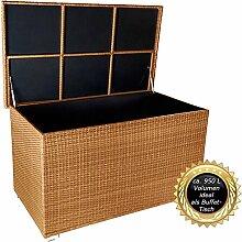 """PREMIUM """"Venezia"""" 950 L XXL Kissenbox (es regnet nicht rein) L 146 cm x B 83 cm x H 80 cm ideal als Buffet Tisch nutzbar mit 2 x Gasdruckstoßdämpfer und eingebauter Tischplatte Farbe: Natur"""