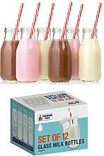 Premium Vials, Milchflaschen aus Glas, 325 ml, 6