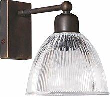 Premium Wandleuchte aus Messing in braun abgetönt E14 bis 40W 230V für Schlafzimmer Flur Wohnzimmer Esszimmer Lampen Leuchte innen Wandlampe