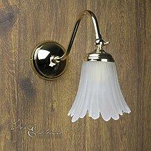 Premium Wandleuchte vergoldet mit 24 Karat Floral E14 bis 40W 230V , Gold & Schlafzimmer Flur Wohnzimmer Esszimmer Lampe Leuchten innen Wandlampe