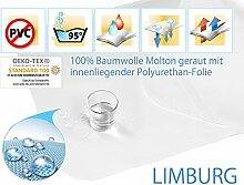 Premium Wasserdichte Molton Matratzenschoner 100% Baumwolle geraut, kochfest und sandwich laminiert - ca. 360 g/m² 160x200