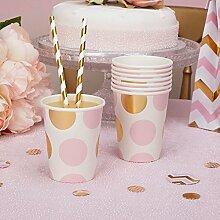 Premium Weddings Pappbecher Punkte rosa Gold 250
