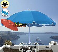 PREMIUM XXL Sonnenschirm, 180 cm / Q 1,80 m EDEL mit Volant, Sonnendach Schirm Strandschirm, blau hellblau/dunkelblau weiß, 8-teilig/8eckiger Strandschirm,Sonnendach /Sonnenschutz Dach, XXL-Klappschirm, Gartenschirm extrem wetterfest, klappbar, tragbar, seewasserfest, hochwertig robust stabil, Sonnenschutz, stabiler Schirm Klappschirm, Strandschirme, Sonnenschirme, Sonnenschirm-Tische