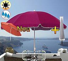 PREMIUM XXL Sonnenschirm mit Hülle, 180 cm / Q 1,80 m EDEL mit Volant, Sonnendach Schirm Strandschirm, violett lila hellviolett lila/dunkelviolett lila weiß, 8-teilig/8eckiger Strandschirm,Sonnendach /Sonnenschutz Dach, XXL-Klappschirm, Gartenschirm extrem wetterfest, klappbar, tragbar, seewasserfest, hochwertig robust stabil, Sonnenschutz, stabiler Schirm Klappschirm, Strandschirme, Sonnenschirme, Sonnenschirm-Tische