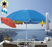 PREMIUM XXL Sonnenschirm mit Schutzhülle, 180 cm / Q 1,80 m EDEL mit Volant, Sonnendach Schirm Strandschirm, blau hellblau/dunkelblau weiß, 8-teilig/8eckiger Strandschirm,Sonnendach /Sonnenschutz Dach, XXL-Klappschirm, Gartenschirm extrem wetterfest, klappbar, tragbar, seewasserfest, hochwertig robust stabil, Sonnenschutz, stabiler Schirm Klappschirm, Strandschirme, Sonnenschirme, Sonnenschirm-Tische