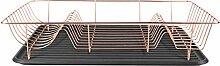 Present Time - PT3258CO Geschirrkorb / Geschirrablage / Tablett - LINEA - Metall / Kunststoff - Farbe: Kupfer / Schwarz - 49 x 32 x 9,5 cm