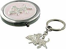 Pretty in Pink Hund Schlüsselanhänger und Kompakt Spiegel Se