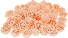Prettyia 100 Stück künstliche rosenköpfe blütenköpfe Home Blumengarten Hochzeit Geburtstag Party Dekoration - Rosa